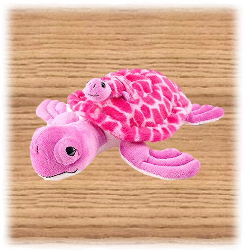 Petjes 32cm Pink Turtle and Baby